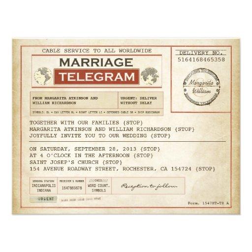 vintage brölloptelegramsINBJUDNINGAR Personliga Inbjudningskort
