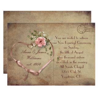 Vintage bröllopvykort 12,7 x 17,8 cm inbjudningskort