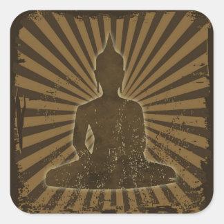 vintage Buddha Fyrkantigt Klistermärke