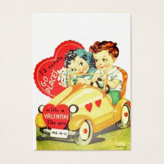 Vintage car lurar valentin dagvalentinen visitkort