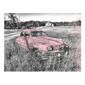 Vintage car med rosa brytningar vykort
