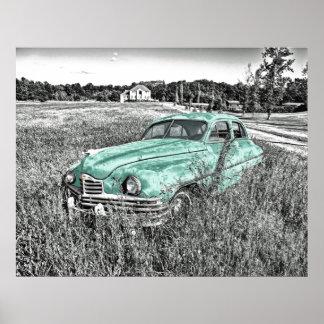 vintage car som överges i affisch för poster