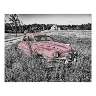 vintage car som överges i fältrosaaffisch poster