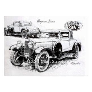 Vintage carillustration set av breda visitkort