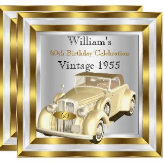 Vintage carmanar 60th vit för guld för fyrkantigt 13,3 cm inbjudningskort