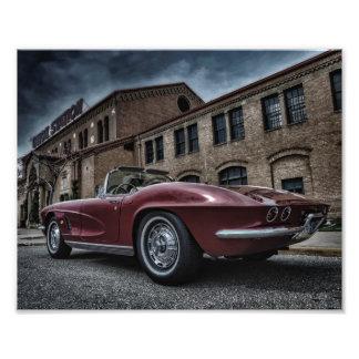 Vintage chevy corvette under himmlar fototryck
