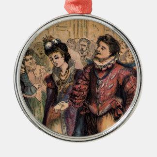 Vintage Cinderella och Prince på bollen Rund Silverfärgad Julgransprydnad