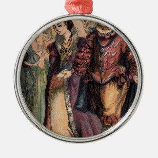 Vintage Cinderella och princen på bollen Rund Silverfärgad Julgransprydnad