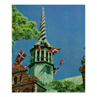 Vintage Danmark Köpenhamnlagrarutbyte Affischer