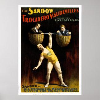 Vintage de Sandow Trocadero vaudevillesna Poster