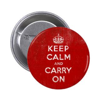 Vintage djupt - röd bekymrad behållalugn och bär p standard knapp rund 5.7 cm