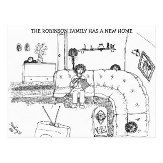 Vintage Family Living Room New Address Vykort