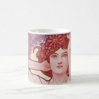 Vintage för Alphonse Mucha Amethyst art nouveaudam Kaffemugg