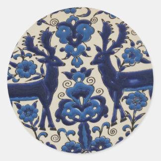 Vintage för blått- och vithjortfullvuxen runt klistermärke