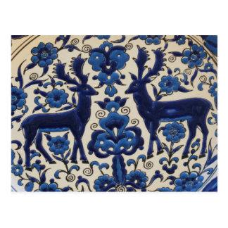 Vintage för blått- och vithjortfullvuxen vykort