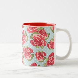 Vintage för blommigt för muggshabby chicro kaffe muggar