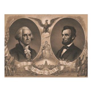 Vintage för George Washington Abraham Lincoln Vykort
