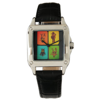 Vintage för Mah Jongg belägger med tegel klockan Armbandsur