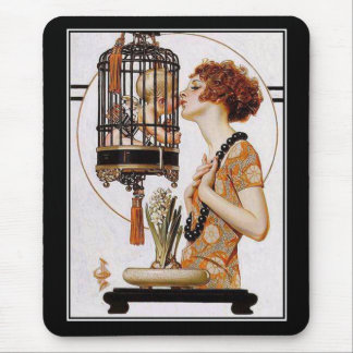 Vintage för Mousepads art nouveauDeco elegant dam Mus Matta