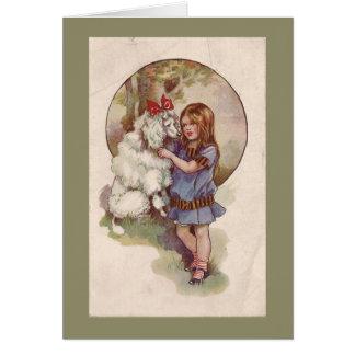 Vintage för pudelGreetng kort