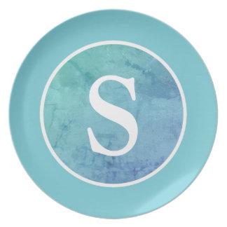 Vintage för Robin äggblått cirklar & monogramen Tallrik