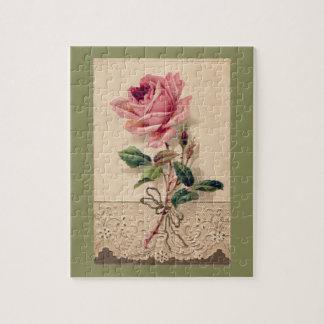 Vintage för rosa ros- & snöreblommigtromantik pussel