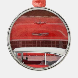 Vintage för vit för klassikerbilChevy Bel Air fint Julgransprydnad Metall