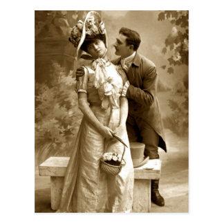 Vintage fotograferar 2 älskare vykort