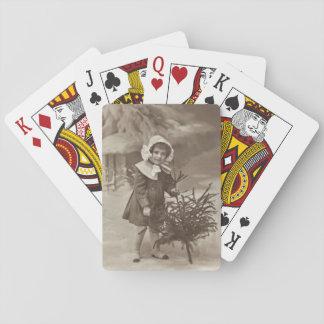 Vintage fotograferar av flicka med ett träddäck spelkort