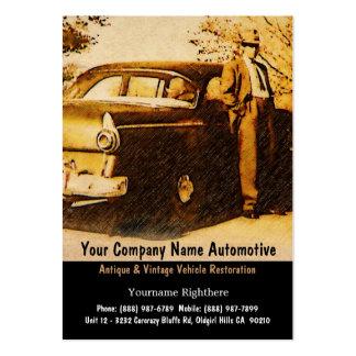 Vintage fotograferar av gammalmodig man och bilen set av breda visitkort
