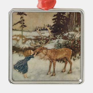 Vintage Gerda och renen av Edmund Dulac Silverfärgad Fyrkantigt Julgransprydnad