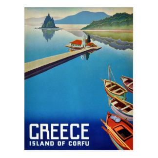 Vintage Grekland reser - ön av Corfu Vykort