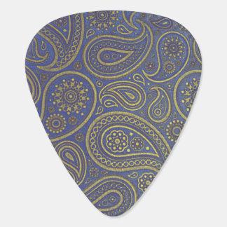 Vintage guld- Paisley på blått Plektrum