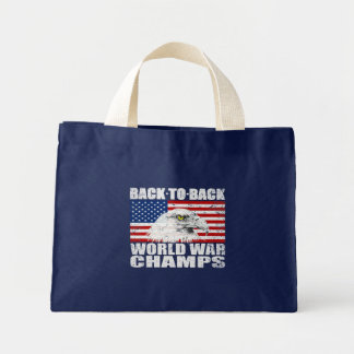 Vintage ha på sig världskrigmästareörn & US-flagga Tote Bag