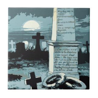 Vintage Halloween, kuslig kyrkogård med gravar Liten Kakelplatta