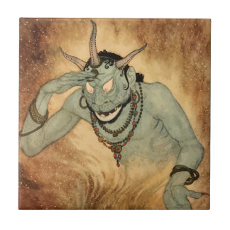 Vintage Halloween, kusligt demonmonster med Horns Liten Kakelplatta