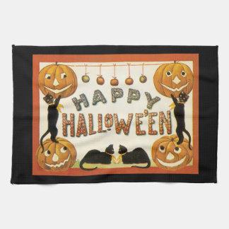 Vintage Halloween, Retro katter med pumpor Kökshandduk