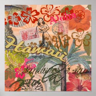 Vintage Hawaii reser färgrikt hawaianskt tropiskt Poster