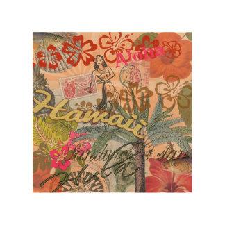 Vintage Hawaii reser färgrikt hawaianskt tropiskt Trätavla