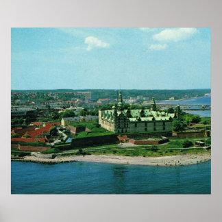 Vintage Helsingor Kronburg slott Danmark Affischer