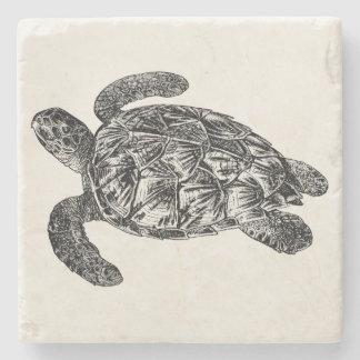 Vintage Imbricated havssköldpadda - sköldpaddamall Underlägg Sten