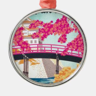 Vintage Japan reser affischkonst Julgransprydnad Metall