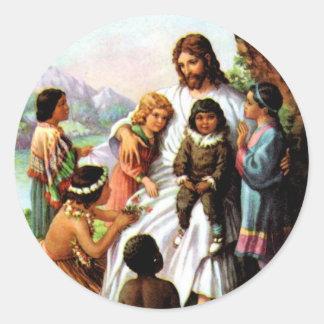 Vintage Jesus älskar alla barnklistermärke Rund Klistermärke