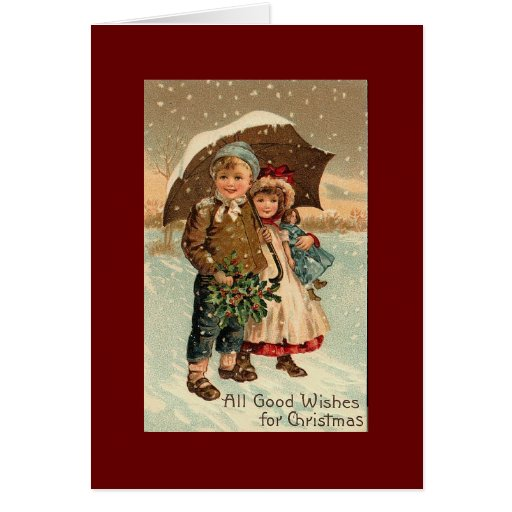 Vintage jul hälsningskort