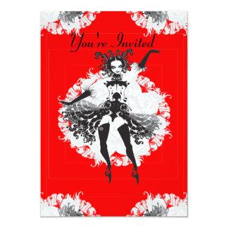 Vintage kan på burk den svart dansare som är röd & 12,7 x 17,8 cm inbjudningskort