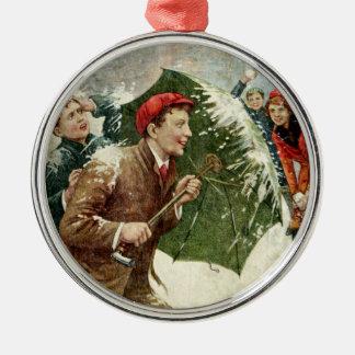 Vintage kastar snöboll & paraplyjulprydnaden rund silverfärgad julgransprydnad
