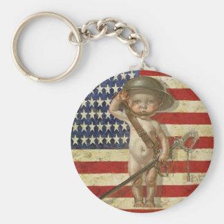 Vintage Keychain med det gulliga trycket för babyk Rund Nyckelring