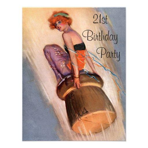 Vintage klämmer fast upp den 21st födelsedagen för individuella inbjudningskort
