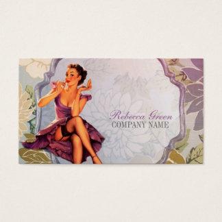 vintage klämmer fast upp flickamakeupkonstnär visitkort