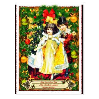 Vintage kopplar ihop julhelgdagvykortet vykort